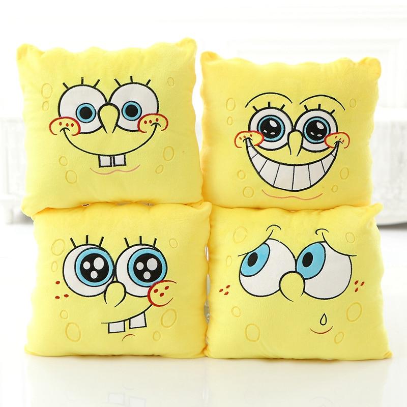 1pcs 34*34cm Cartoon Sponge Baby Bob Plush Toys Soft Spongebob Pillow Cushion Four Models Can Be Selected Kids Toys Birthday !
