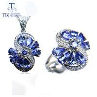 TBJ, 2018 новый натуральный хороший цвет Танзанит комплект ювелирных украшений кулон и кольцо 925 серебро для женщин annviersary вечерние подарок