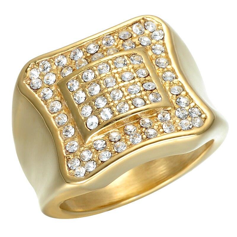 Горячие распродажа, модная обувь Jewelry ip gold покрытие Titanium Square Ring полированная нержавеющая сталь панк кольца Бесплатная доставка