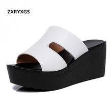 2019 Summer New Fashion Genuine Leather Shoes Sandals Women Hollow Comfort Wedges Shoes Non-slip Women Slippers Platform Shoes