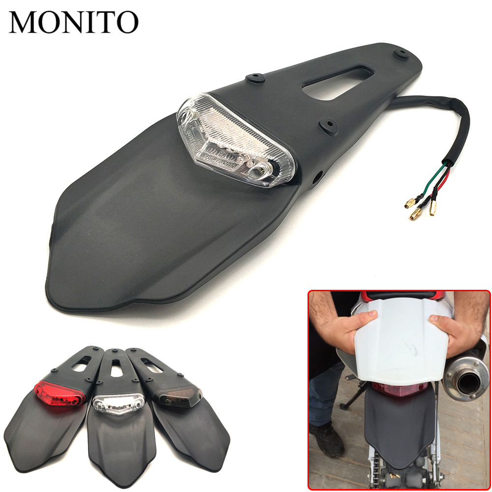 Motorcycle Dirt Bike Rear Fender & Brake Stop TailLight Motocross Enduro Mudguards 12 LED Tail Light For KTM Kawasaki Yamaha BMW