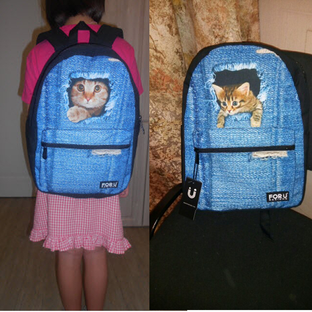 Women's Canvas Backpack – Cute 3D Animals Printings