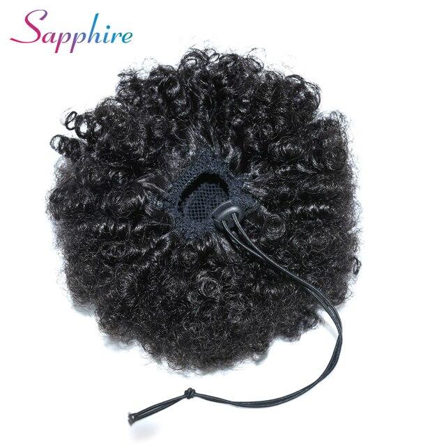 Lazo de zafiro Puff Afro rizado cola de caballo africano americano corto envolver clips de cabello humano en cola de caballo pelo no Remy prolonga