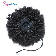 Sapphire Drawstring Puff Afro Kinky Curly Ponytail African American Short Wrap Human Hair clips in Ponytail Non-Remy Hair Exten(China)