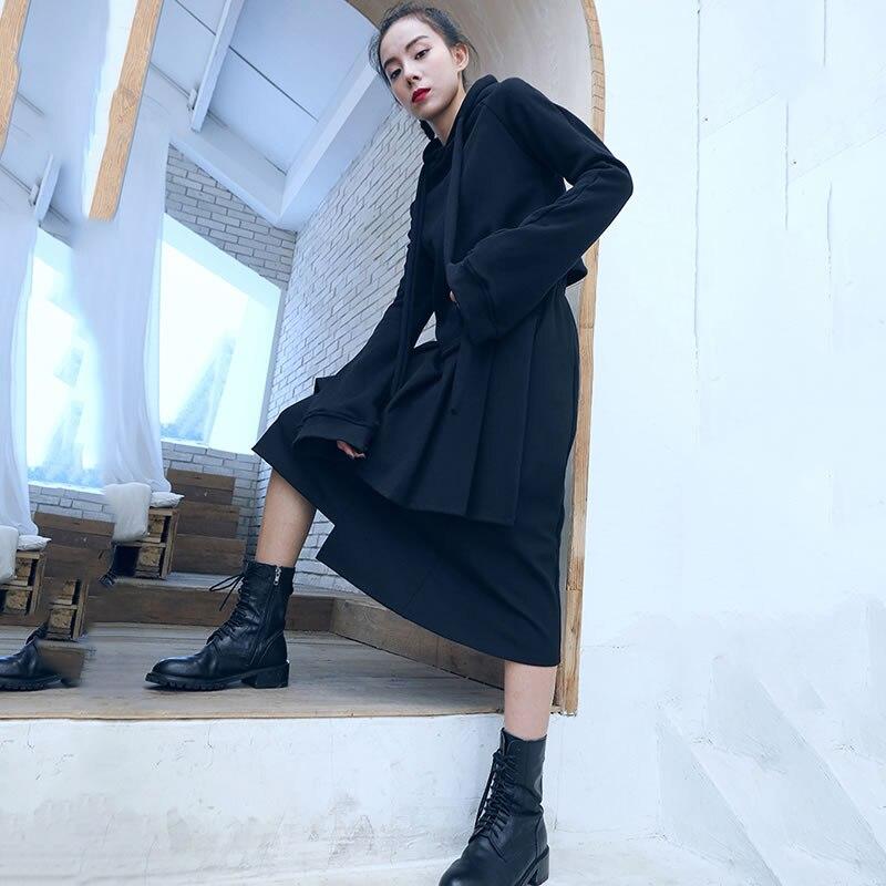 Femmes xitaoCasual ligne Solide Jupe Couleur Printemps Irrégulière Genou De 2019 Nouveau Zll2983 Lâche A Black Mode Femelle longueur shrCtQd