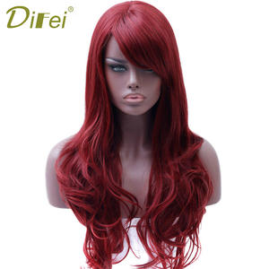 DIFEI Synthetic Wigs Red-Wig Black Long Women Heat-Resistant Wavy for Side-Part Cosplay