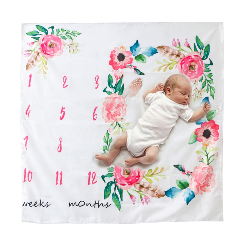 100cm Polyester Cotton Newborn Baby Watercolor Floral Photography Background Cloth Milestone Blanket