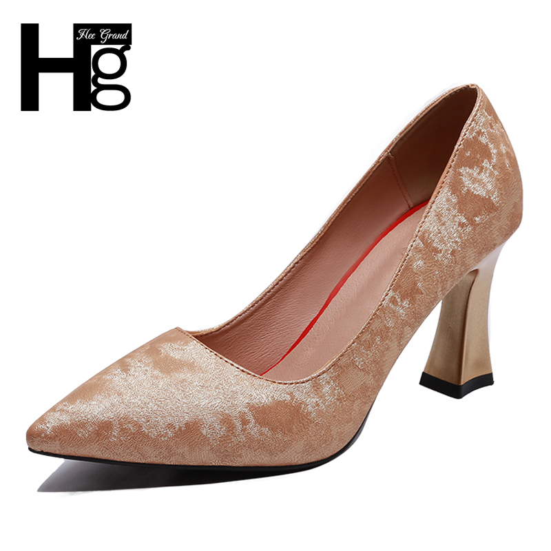 HEE GRAND High Heel Women Pumps Elegant Women's Pumps Fashion Pointed Toe Concise Design Low Square Heel Shoes for Woman XWD6904 concise flock and round toe design pumps for women