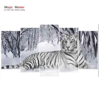 5D DIY Diamond Embroidery white Tiger 5 PCS Diamond Painting Cross Stitch Full Drill Rhinestone Mosaic Multi picture Decor