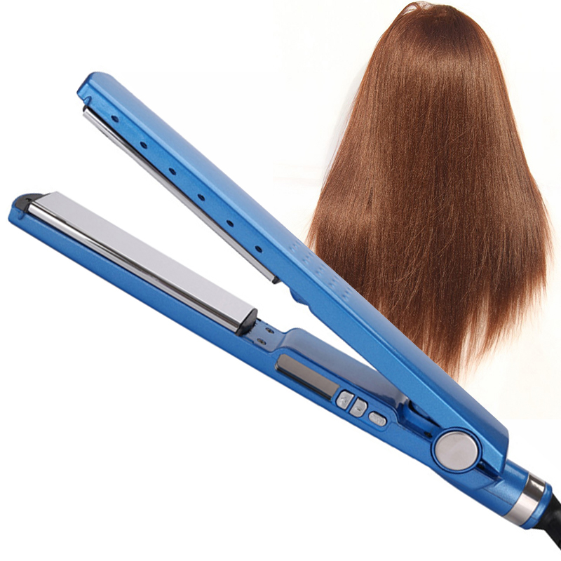 Provided Blue Hair Straightener Iron Chapinha Prancha Pro Nano Titanium 1 1/4 Plate Fast Flat Iron Salon Led Display With Adapter Plug Straightening Irons