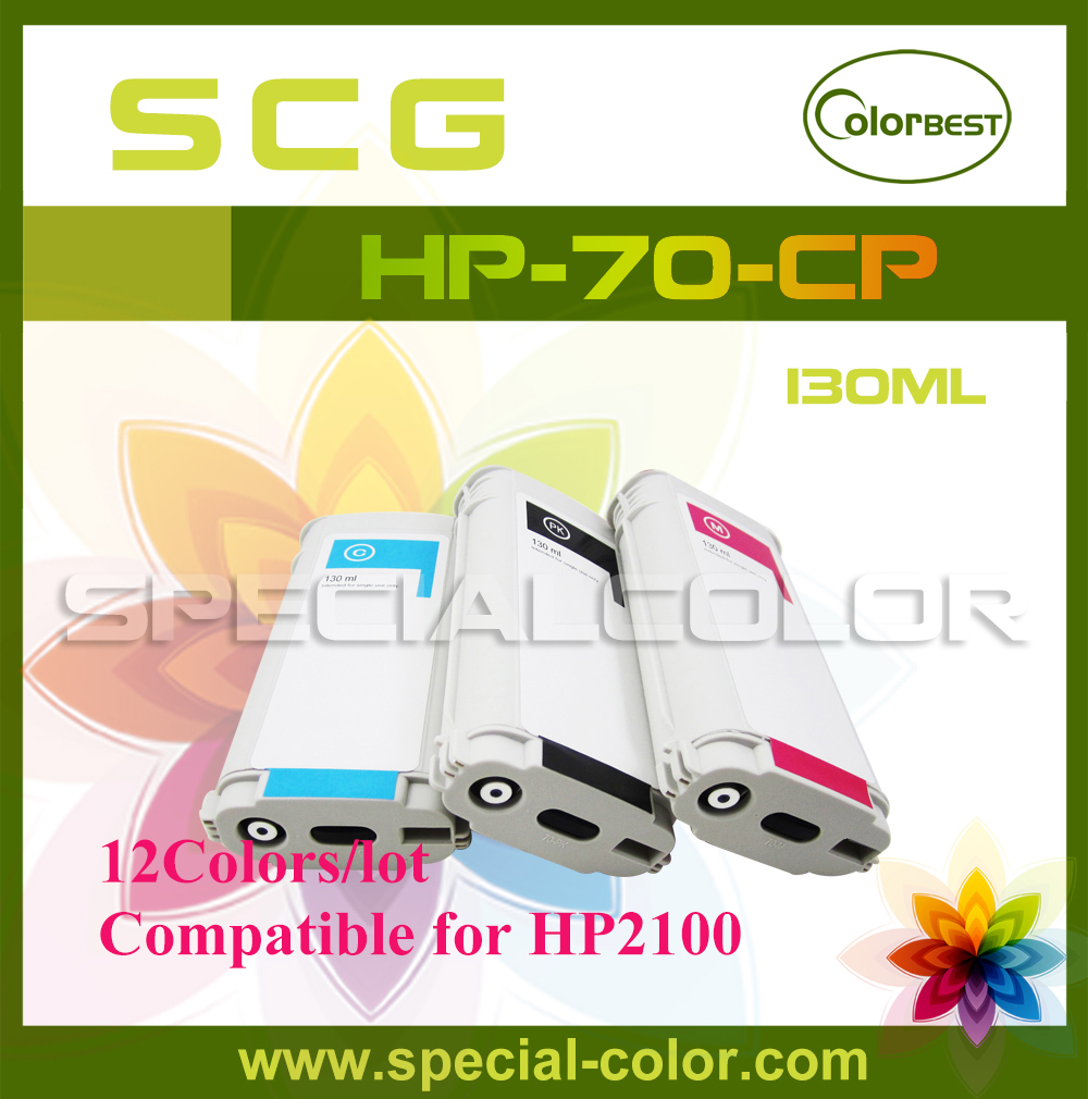 12Colors/set High Quality 130ml Pigment Ink Cartridge with Chip for HP 2100 Compatible HP-70 Pigment ink 5colors set high quality 680ml ink cartridge with pigment chip for hp 5000 5500 printer c m y lc lm