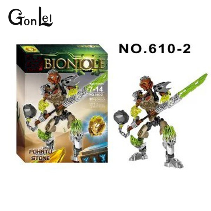 GonLeI Bevle XSZ 610-2 Bionicle Mask of Light Bionicle Pohatu Stone Land Guardian Building Block with 71306 Brick Toys