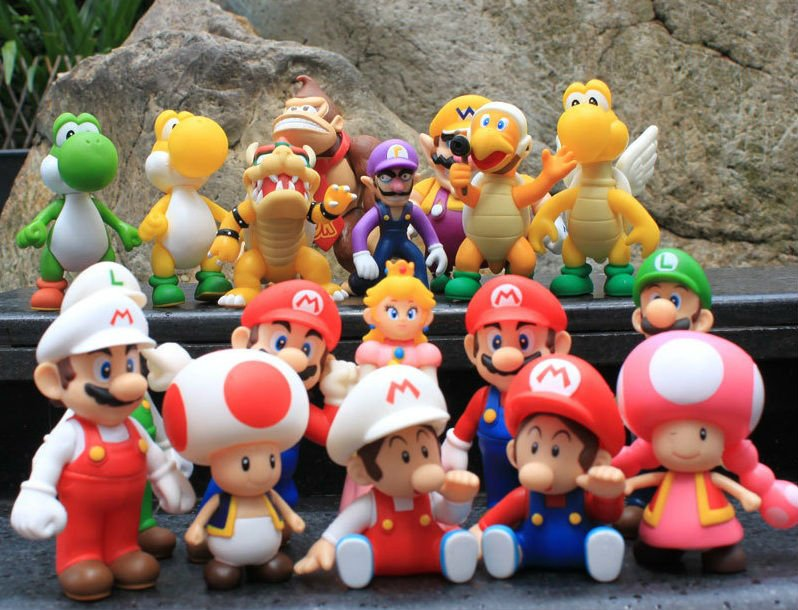 ФОТО Super Mario bros Action PVC Figure Toys 2 options 9pcs/set, 12CM Height For XMAS gift