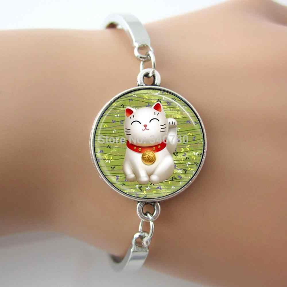 ラッキー画像バングルグリーン招き猫幸運チャーム日本美術ペンダントガラスドームフォトブレスレット GL007