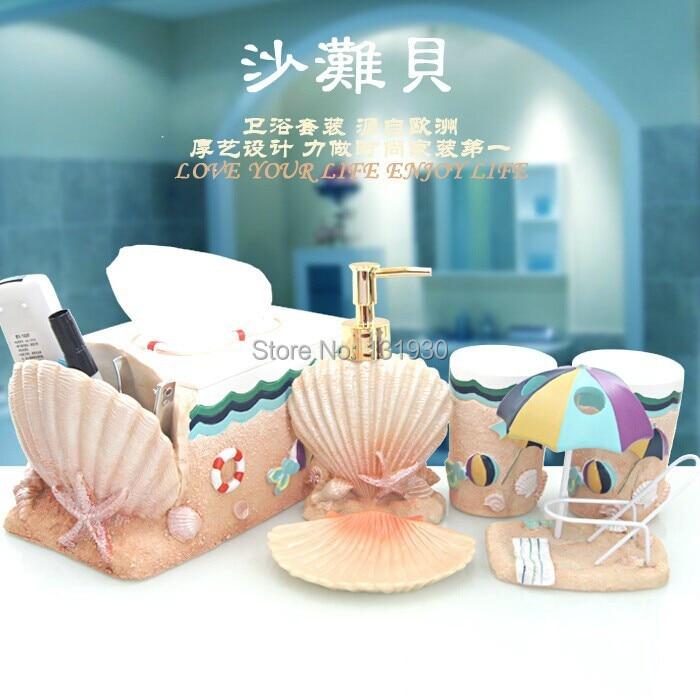 high class 6pieces bath set resin bath accessories