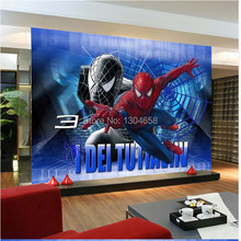 Free shipping custom wallpaper modern large-scale 3D animation Spiderman sofa bedroom TV backdrop wallpaper(China)