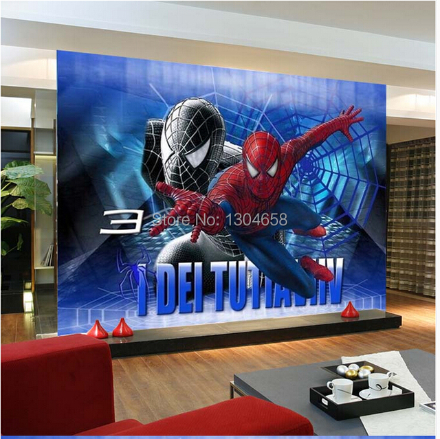 Free Shipping Custom Wallpaper Modern Large Scale Animation Spiderman Sofa Bedroom Tv Backdrop