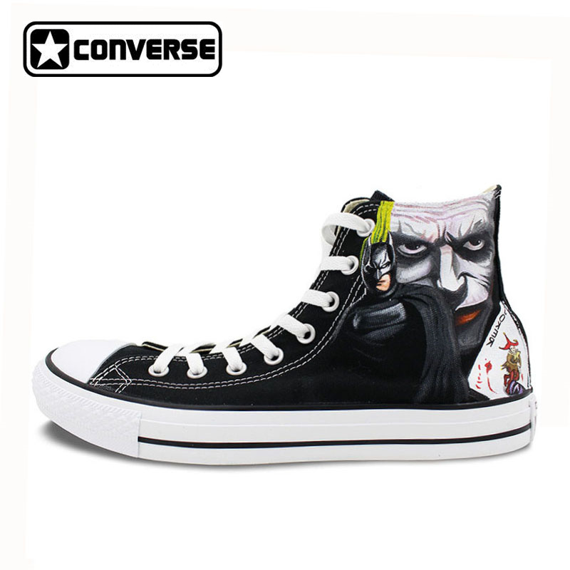 Black Converse Men Women Shoes Custom Design Joker Hand Painted Shoes High Top Canvas Sneakers Man Woman