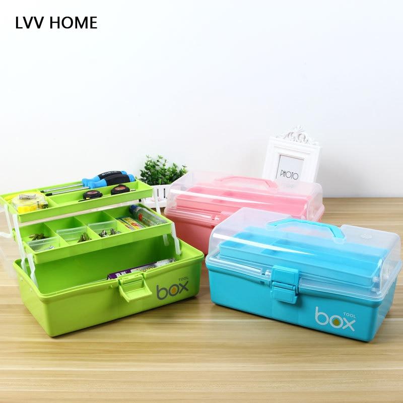 LVV HOME portable sub-grid multi-layer medicine kit/toolbox household cosmetics desktop storage box