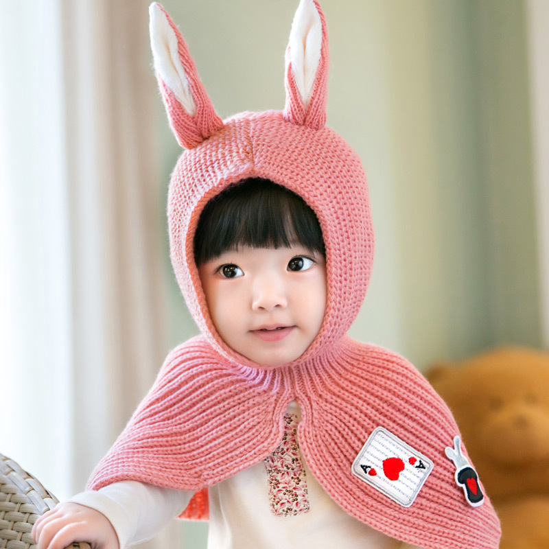 Cute Toddler Crochet Beanie Baby Girls Boys Kids Bunny Rabbit Ears Wool Scarf Tippet Wraps Princess Knitted Winter Hat Hood Cape