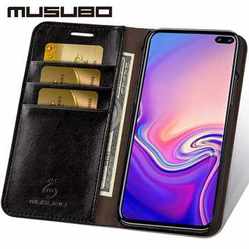 Musubo Business Luxury Case For Samsung Galaxy S20 S10 S10+ S10e Genuine Leather Flip Cases Cover for S9 Plus Funda Coque Capa