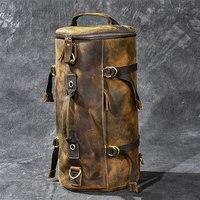 Большой емкости Человек Дорожная сумка альпинизм рюкзак мужчины сумки ручной Сумасшедший Оли из натуральной кожи ведро сумка