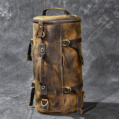 Large Capacity Man Travel Bag Mountaineering Backpack Men Bags Hand-crazy Oli Genuine Leather Bucket Shoulder Bag