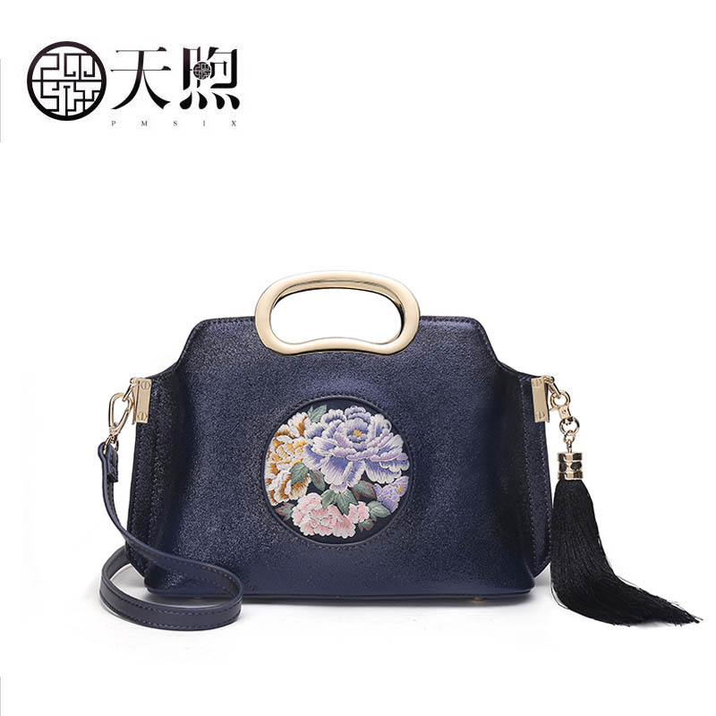 PMSIX 2018 New women Leather bag fashion handbag women famous brands fashion embroidery bag women leather shoulder crossbody bag 2017 pmsix new chinese style fashion shoulder bag elegant lady handbag leather printing embroidery female bag casual woman bag