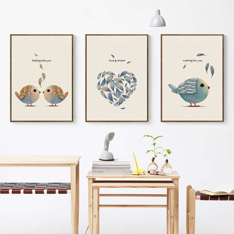 Bianche Wall Simple Nordic Sweet Bird Sweet Home A4 Canvas Painting Art Print Poster Picture Wall Decoration Modern Home Decor