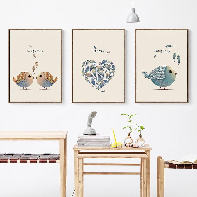 Elegantní poezie Jednoduchý skandinávský sladký pták Sladký domov A4 Obraz na plátně Umělecká reprodukce Plakát Obraz Nástěnná dekorace Moderní bytový dekor
