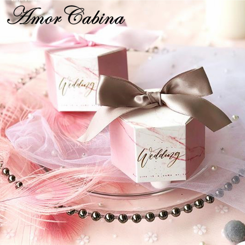 50pcs Creative Hexagon Pink Marble Style Candy Box Romantic Wedding Party Bomboniera Gift Box with Pink