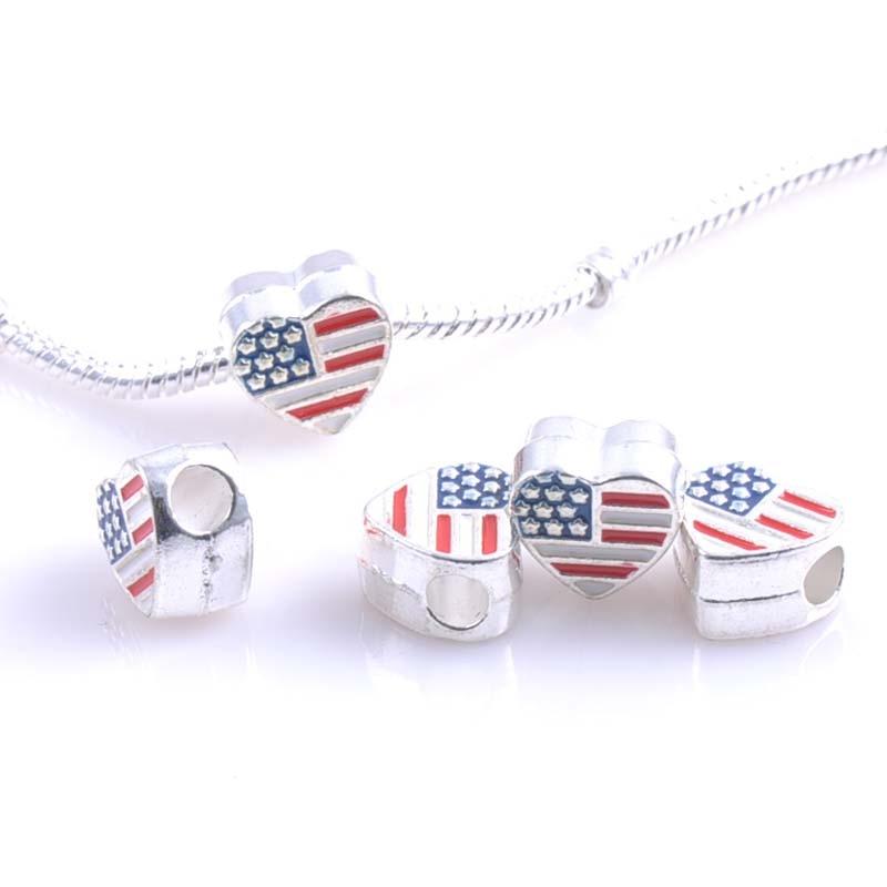 13x12MM 10 Pcs Silver US flag Spacers Beads Fit Pandora Charms Bracelets Jewelry Handmade DIY DK-050