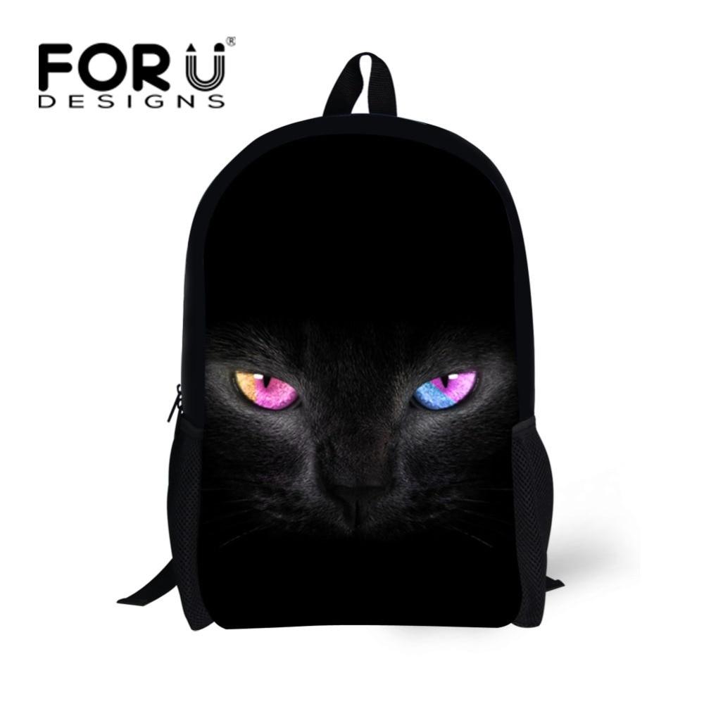 цена на FORUDESIGNS Black Cat Printed Girls School Backpack 3D Animal Kids Bagpacks for Children Students Boys Girls Mochila Bagpack