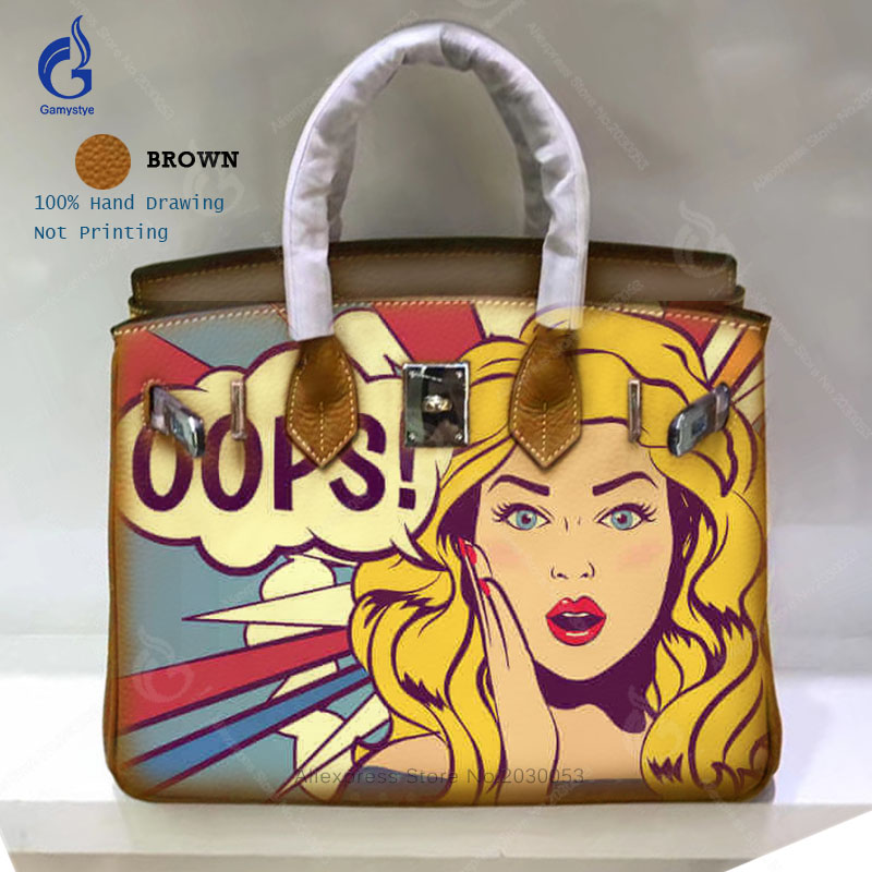 купить Ladies Hand Bags 2018 Hand Painted Graffiti Art Pop Girl Handbags Women Genuine Leather Bags Top Shoulder Casual Totes Big Bag по цене 4345.04 рублей