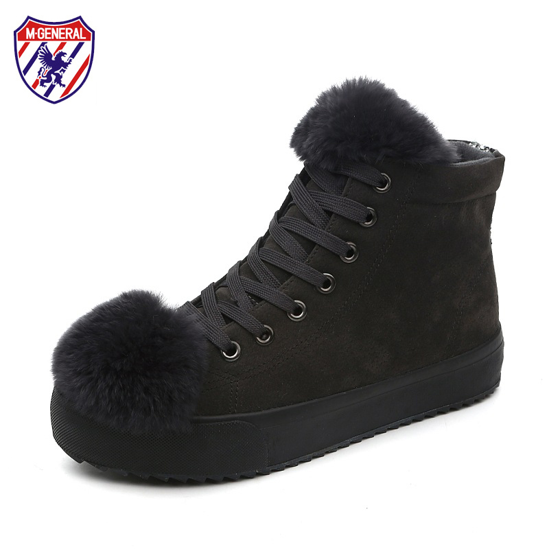 M.GENERAL Women Snow Boots with Big Fur Balls Ankle High Female Winter Boots Cute Design Black Gray Flat Heel 2017 New 35-40