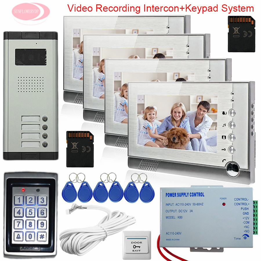 4 Apartments Intercom With Recording + SD Card 7-inch Screen Video Doorphone Intercom Home Security Keypad Access Control System