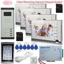 4 Appartements Interphone Avec Enregistrement + SD Carte 7-pouces Écran Vidéo Interphone Interphone de Sécurité À Domicile Système de Contrôle D'accès Clavier
