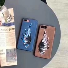 For iphone 7 plus 7plus Case Handmade Embroidery Couple Angel Wings Retro Cell Phone Case Luminous Protect Shell Phone Case Capa
