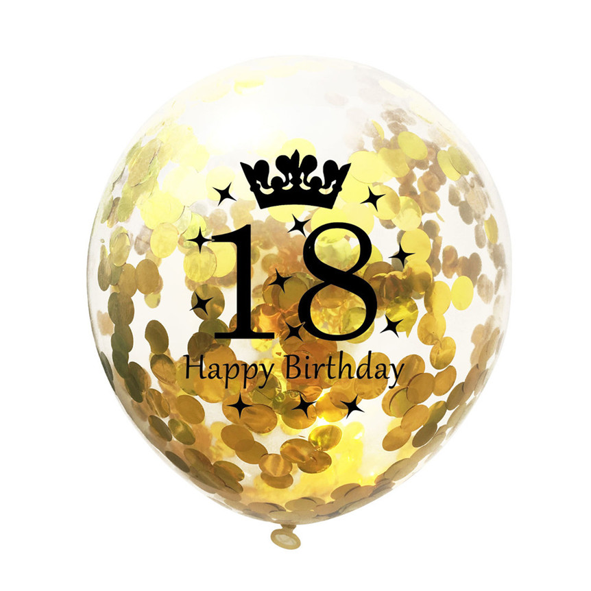 5Pcs 12 Golden Balloons Happy Birthday Decorations 18 Years Old Party Supplies Latex helium Balloons Drop Shipping 528#