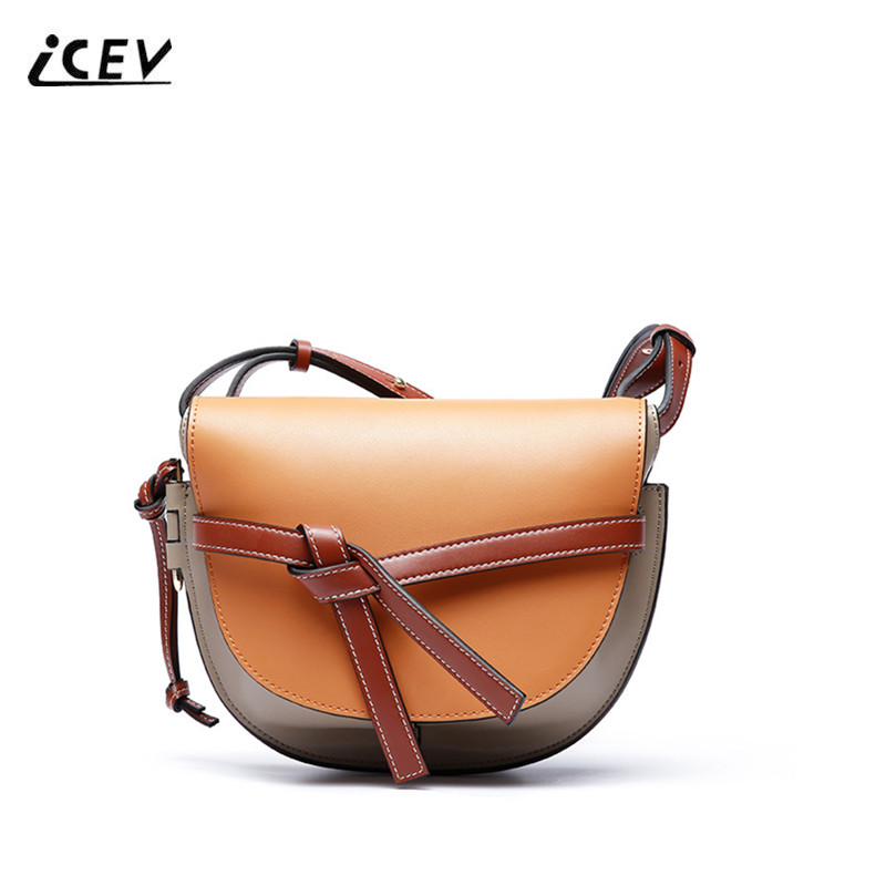 ICEV Vintage European Fashion Genuine Leather Bags Handbags Women Famous Brands Women Messenger Bags Saddle Shoulder Totes Bolsa icev new fashion europe style genuine leather handbags alligator women leather handbags bags handbags women famous brands bolsa