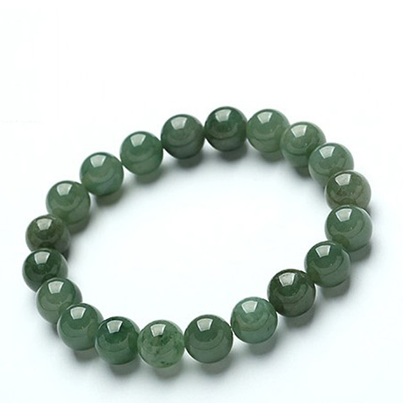 Popular Bangle Bracelets: Myanmar Natural Green Stone Beads Bracelet Women Bracelet