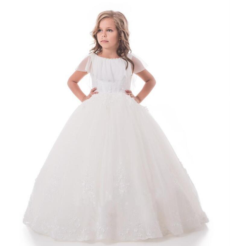все цены на White Ivory Girls First Communion Dresses Lace Pearls Half Sleeve Flower Girls Dresses for Wedding Custom Made Pageant Gown онлайн