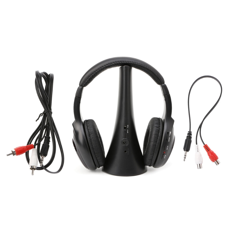 5 In 1 Wireless Stereo <font><b>Headset</b></font> Kopfhörer Sender FM Radio Für <font><b>TV</b></font> DVD MP3 PC image