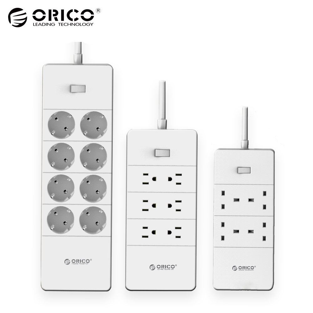 цена на ORICO HPC-V1 USB EU UK US Electrical Socket Overload Switch Surge Protection 4 6 8 AC Outlets 5 USB Ports 2.4A Smart Power Strip