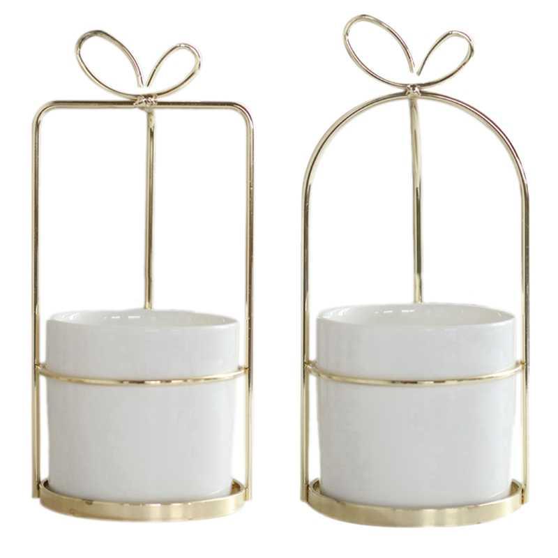 Modern Non-Porous Ceramic Vase With Gold Frame White Porcelain Home Decoration Plant Planting Flower Pot White + Gold Ceramic
