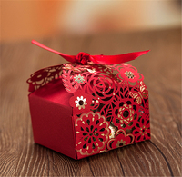 Lovely Candy Bag Red Flower Event Party Supplies Packaging Wedding Favors Gifts Sugar Luxury Decoration Guest Mariage Paper Box