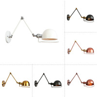 Industrial Style Loft Industrial Long Arm Golden Indoor Retro Decorative Lighting Fixtures Led Sconce Indoor Vintage Wall Lamp