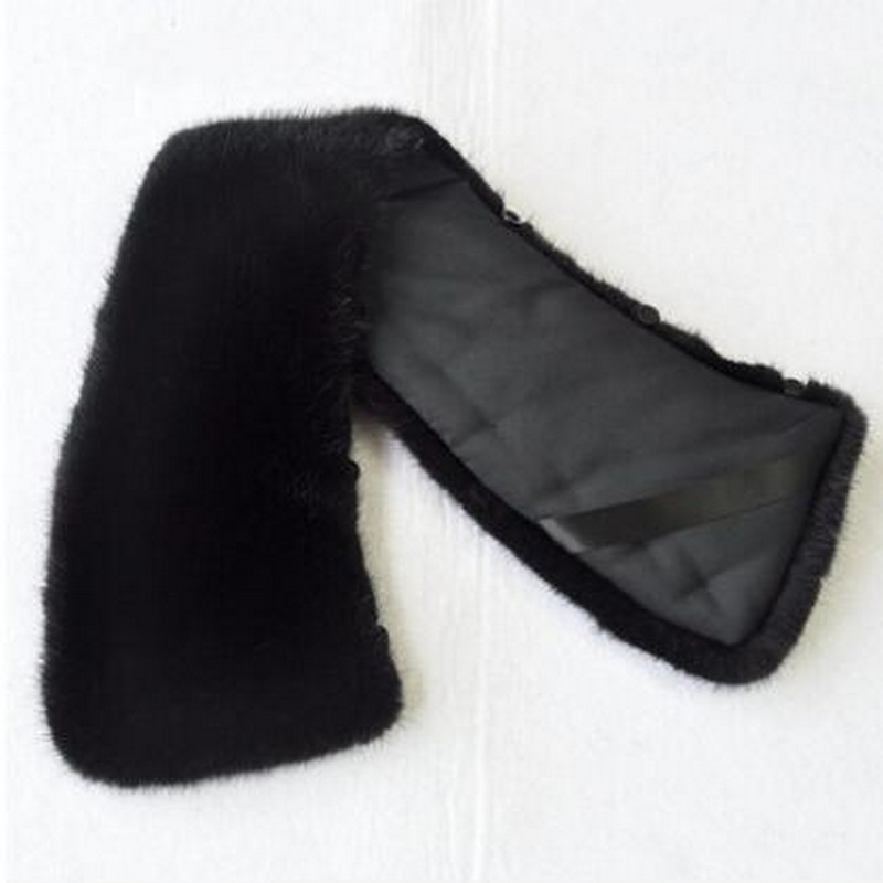 Glaforny 100% Genuine Real Mink Fur Collar Men Winter Coat Scarf Accessory Women Jacket Fur Collar Black Coffee