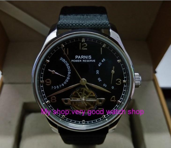 Здесь можно купить  43mm PARNIS black dial power reserve Automatic Self-Wind Mechanical movement men