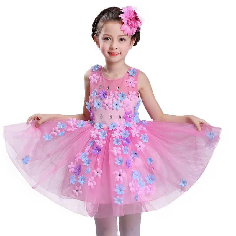 New summer baby girl Clothes print flower girl dress for wedding girls party dress with bow dress 6